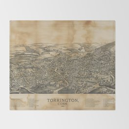 Aerial View of Torrington, Connecticut (1889) Throw Blanket