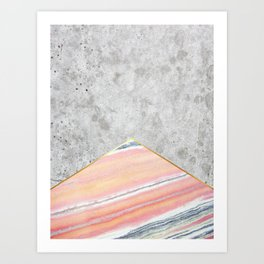 Concrete Arrow Pink Marble #289 Art Print