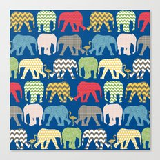 baby elephants and flamingos lapis Canvas Print