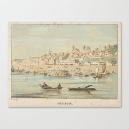 Vintage Pictorial View of Vicksburg MS (1854) Canvas Print