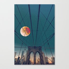 Blood Moon over the Brooklyn Bridge and New York City Canvas Print