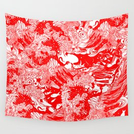 Big waves Red Wall Tapestry