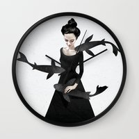girl Wall Clocks featuring News from afar by Ruben Ireland