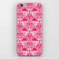 damask iPhone & iPod Skins featuring Flamingo Damask by Jacqueline Maldonado
