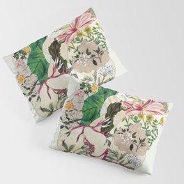 Vintage Botanical Heart On Green Pillow Sham