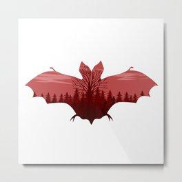bat Silhouette red Metal Print