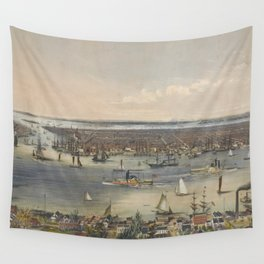 Vintage Pictorial Map of New York City (1848) Wall Tapestry