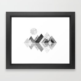 Geometrical mountains in black and white - Scandinavian art Framed Art Print