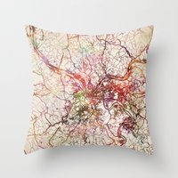 pittsburgh Throw Pillows featuring Pittsburgh by MapMapMaps.Watercolors
