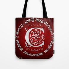 Joshua 24:15 - (Silver on Red) Monogram C Tote Bag