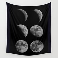 moon phases Wall Tapestries featuring Moon Phases by Astrophotos by McLeod