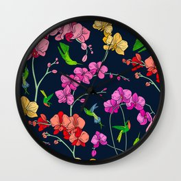 Colorful Flowers With Humming Birds Pattern Wall Clock