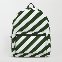 Large Dark Forest Green and White Candy Cane Stripes Backpack