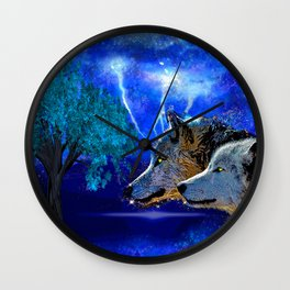 WOLF AND LIGHTENING Wall Clock