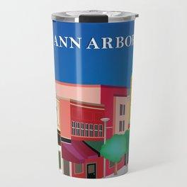 Ann Arbor, Michigan - Skyline Illustration by Loose Petals Travel Mug