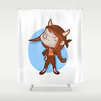 taurus Shower Curtains featuring Taurus by Chiara Zava