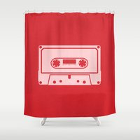 tape Shower Curtains featuring Cassette Tape by Blank & Vøid
