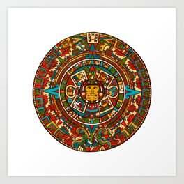 Aztec Mythology Calendar Art Print