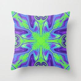 Groovy, Retro Purple and Green Swirls Design Throw Pillow