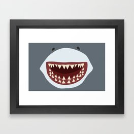 Shark Teeth Funny Kids Cartoon Smile Framed Art Print