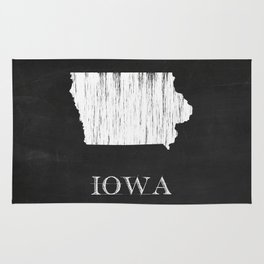 Iowa State Map Chalk Drawing Rug