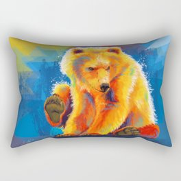 Play with a Bear - Animal digital painting, colorful illustration Rectangular Pillow