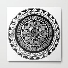 Mandala Black and white Metal Print