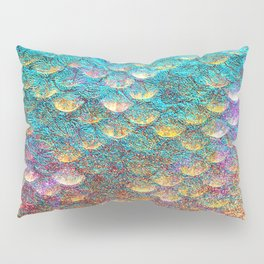 Aqua and Gold Mermaid Scales Pillow Sham