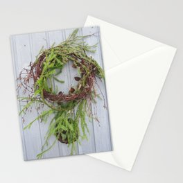 Rustic wreath on gray door Stationery Cards