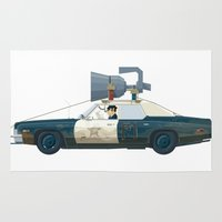 blues brothers Area & Throw Rugs featuring The Blues Brothers Bluesmobile 2/3 by Staermose