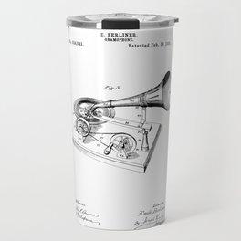 patent art Berliner Gramophone 1895 Travel Mug