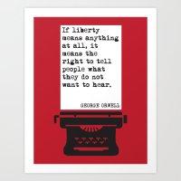 George Orwell Liberty Quote Art Print