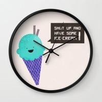 ice cream Wall Clocks featuring ICE CREAM by Sof Andrade