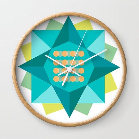 Abstract Lotus Flower - Yoga Print Wall Clock