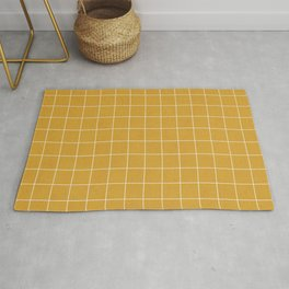 Small Grid Pattern - Mustard Yellow Rug
