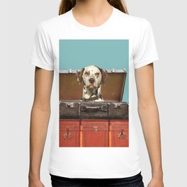 Dalmatian Dog sitting in old suitcase T-shirt