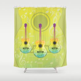 Polygonal guitar silhouette Shower Curtain