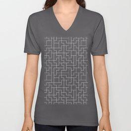 White Tetris Pattern on Blue Unisex V-Neck
