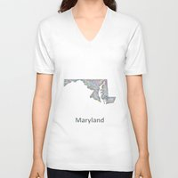 maryland V-neck T-shirts featuring Maryland map by David Zydd