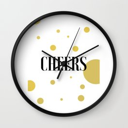 POP FIZZ CLINK Black And Gold Party Decorations Champagne Gift Champagne Quotes Cheers Sign Printabl Wall Clock