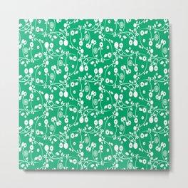 Jade Green Floral Pattern Metal Print