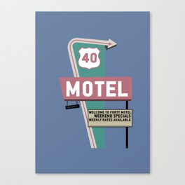 Illustrated Motel Poster Canvas Print