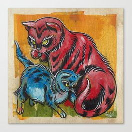Blue and Red Cats Canvas Print