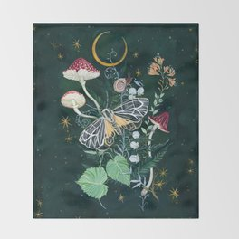 Mushroom night moth Throw Blanket