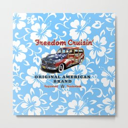 Freedom Crusin' Hawaiian Woody Design - blue colorway Metal Print