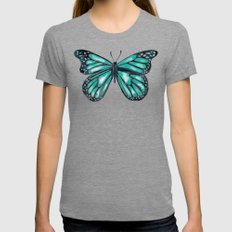 Turquoise Butterfly Tri-Grey LARGE Womens Fitted Tee