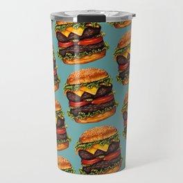 Double Cheeseburger Pattern Travel Mug