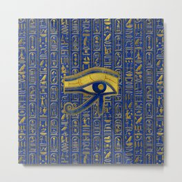 Gold Egyptian Eye of Horus - Wadjet Lapis Lazuli Metal Print