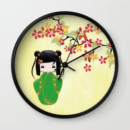 Sakura Kokeshi Doll Wall Clock