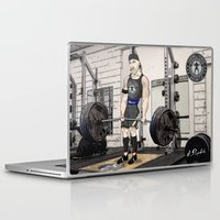 fitness Laptop & iPad Skins featuring Campbell Fitness Deadlift by Juan Perednik